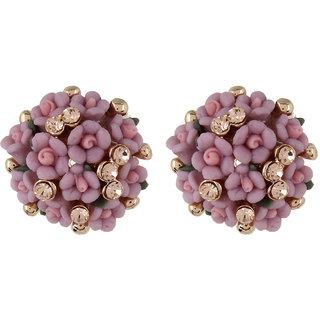 Fayon Weekend Casual Pink rose Flower Stud Earrings