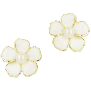 Fayon Daily Casual Work White Pearl Sunflower Stud Earrings
