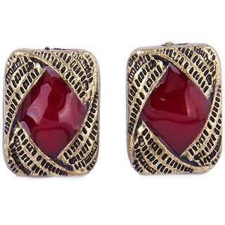 Fayon Chic Stylish Golden Red Square Stud Earrings