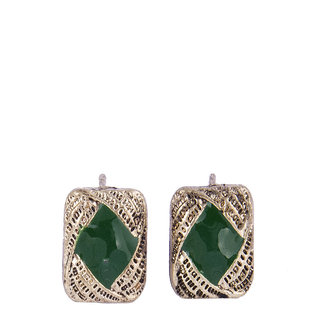 Fayon Daily Casual Work Golden Green Square Stud Earrings
