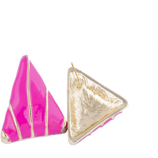 Fayon Trendy Costume Pink Triangles Stud Earrings