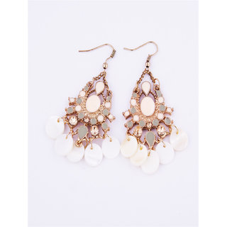 Fayon Fashion Statement Peach Rhinestone Chandelier Earrings