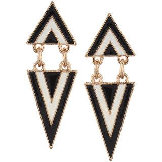 Fayon Chic Stylish Black n White Opposite Triangles Dangler Earrings