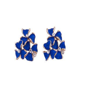 Fayon Weekend Party Blue Flowers Cluster Stud Earrings