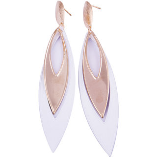 Fayon Contemporary Statement White Golden Drop Dangler Earrings