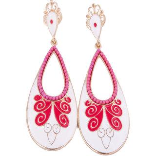 Fayon Chic Stylish Enchanting White Red Jhumki Earrings