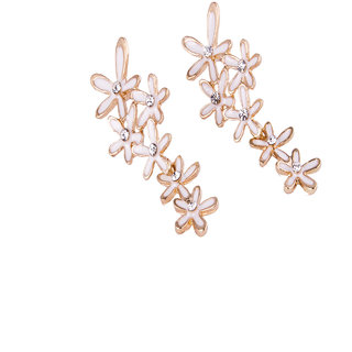 Fayon Party Style Diva White Small Flowers Dangler Earrings