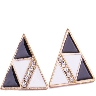 Fayon Trendy Costume White and Black Geometric Stud Earrings