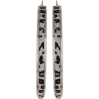 Fayon Desinger Modern Black and White Animal Print Hoop Earrings