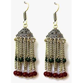 Kiya Mughal Styled Jhumki With Chain Hanging In Multicoloured Beads