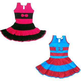 Flora Self Design Cotton (Combi) Dresses For Girls