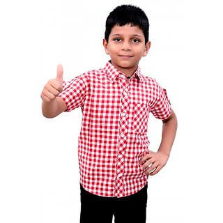 Crazeis Red Checkered Boys Shirt