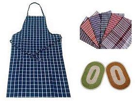 Deal kitchen combo of 1 apron + 2 napkins+ 2 kitchen door mats