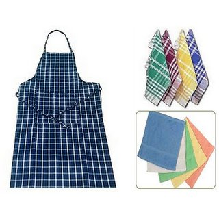angel homes kitchen combo of 1 apron + 2 napkins +  3 kitchen duster