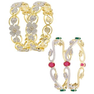 Penny Jewels Alloy Party Wear  Wedding Latest Designer Combo Fancy Bangles Set For Women  Girls (Pack Of 4)