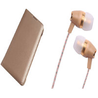 Lenovo Vibe K5 Note Gold Leather Flip Cover with Fragrant Noise Cancellation Earphones with Mic