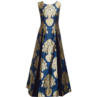Style Amaze Blue Tussar Silk Printed Semi Stitched Gown
