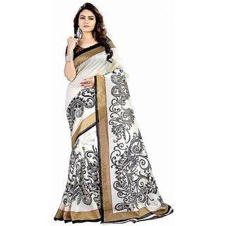 Meia White and Black Bhagalpuri Silk Self Design Saree With Blouse