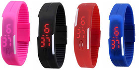 UNISEX Fancy led watch(combo of black+blue+red+pink)