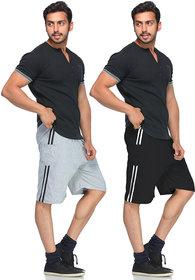 Demokrazy Men Black And Grey KC Shorts(Pack of 2)
