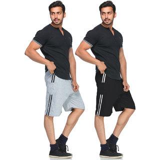 Demokrazy men's Black And Grey KC Shorts(Pack of 2)