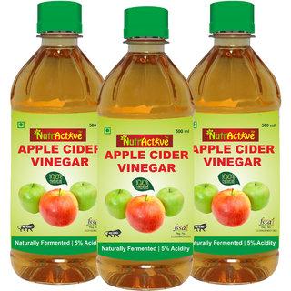 NutrActive Filtered Apple Cider Vinegar  100 Natural, Ideal for Salad Dressing 1500 ml Pack of 3