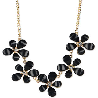 Fayon Trendy Costume Five Bold Black Flowers Charm Necklace