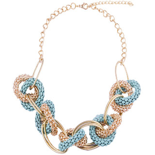 Fayon Fashion Statement Turquoise Intertwining Crew Necklace