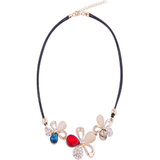 Fayon Designer Modern Trio Crystal Flowers Choker Necklace