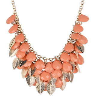 Fayon Fabulous Statement Orange Beads with Golden Leaves Charm Necklace