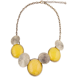 Fayon Weekend Casual Yellow and Antique Gold Glow Crew Necklace