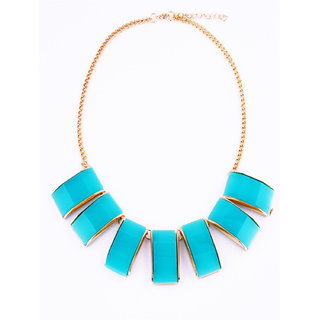 Fayon Funky Fashion Turquoise Gemstone Geometric Crew Necklace