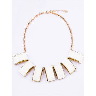 Fayon Chunky Fashion Cream Gemstone Bib Necklace