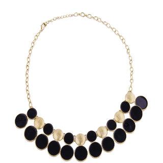 Fayon Fabulous Statement Black Enamel Lariat Necklace