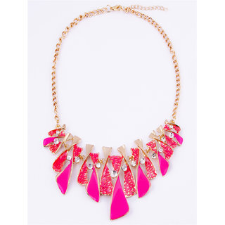 Fayon Contemporary Statement Hot Pink Enamel Lariat Charm Necklace