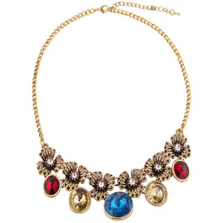 Fayon Fabulous Statement Vintage Roses and Multicolour Gemstone Crew Necklace