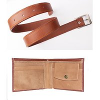 Combo of Mens Faux Leather Belt Tan Color and Brown Wallet at best price