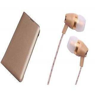 Panasonic P77 Gold Leather Flip Cover with Fragrant Noise Cancellation Earphones with Mic