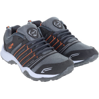 Lancer Lace-up Gray & Orange Mesh EVA Running Shoes For Men