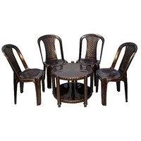 NILKAMAL CHAIR 4002 WITH CENTRO 11 TABLE - WEATHER BROWN