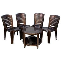 NILKAMAL CHAIR 4025 WITH CENTRO 11 TABLE - WEATHER BROWN