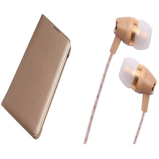 Samsung Galaxy A9 Pro Gold Leather Flip Cover with Fragrant Noise Cancellation Earphones with Mic