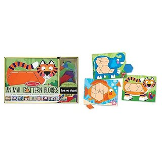 Melissa Doug Animal Pattern Blocks Set With 5 Double-Sided Wooden Boards and 47 Multi-Shaped Blocks
