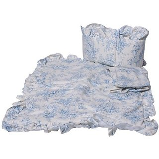 Baby Doll Bedding Toile Cradle Set, Blue
