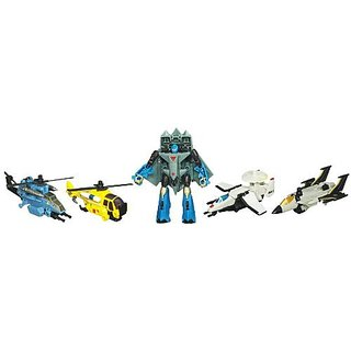 Transformers Power Core Combiners Series Robot Action Figure - Autobot SKYBURST with 4 Aerialbots (Recon Plane Drone, Combat Helicopter Drone, Chopper Drone and Fighter Jet Drone)