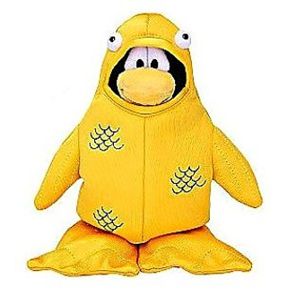 Disney Club Penguin 6.5 Inch Series 4 Plush Figure 12th Fish Costume (Includes Coin with Code!)