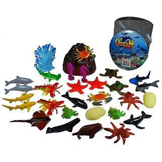Giant Bucket of Ocean Life Sea Animal Figures - 34 Pieces