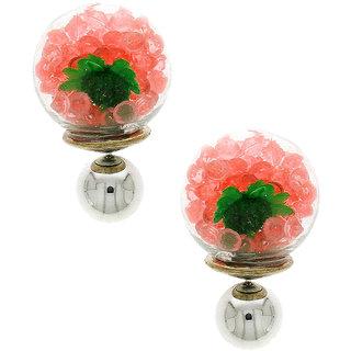 Anuradha Art Peach Colour Designer Studed Sparkling Shimmering Stone Wonderful Studs Styled Fancy Earrings For Women/Girls