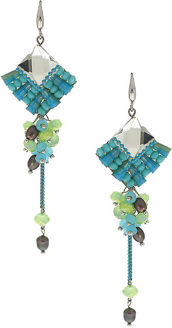 Anuradha Art Gold Finish Styled With Blue Colour Crystal Stone Fancy Pary Wear Beautiful Designer Earrings For Women//Girls