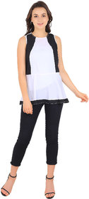 New Fashion Life Style Woman Round Neck Pipine White/Black Plain Summer Cool Crepe On Solder Astin Fitted Top